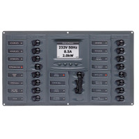 BEP AC Circuit Breaker Panel w\/Digital Meters, 16SP 2DP AC230V ACSM Stainless Steel Horizontal