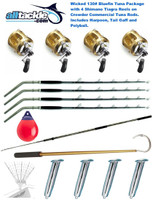 Alltackle Wicked 130# Blue Fin Tuna Package - 4 x Shimano Tiagra 130 Combos w/Harpoon, Gaff, and Revolver Rod Holders