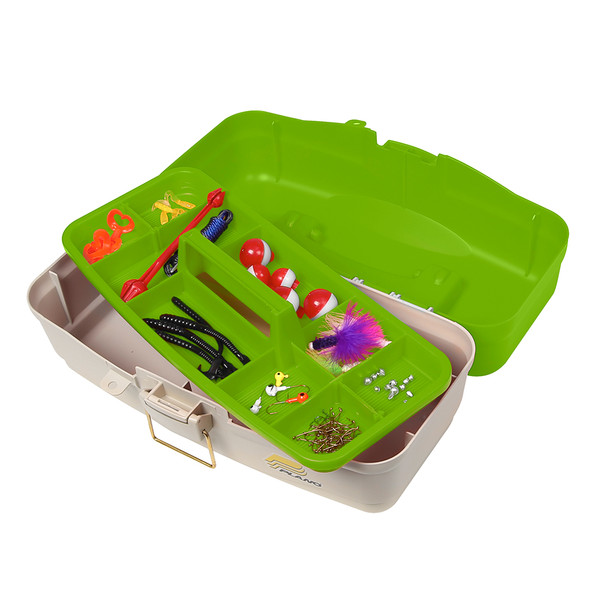 Plano Ready Set Fish On-Tray Tackle Box - Green\/Tan