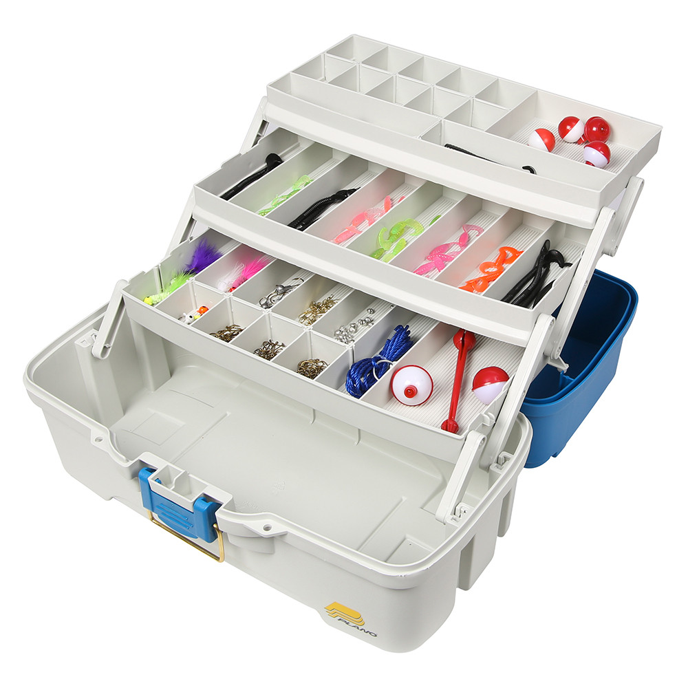 Plano Ready Set Fish Three-Tray Tackle Box - Aqua Blue\/Tan