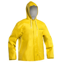 Tailored from medium weight PVC-coated polyester/cotton blend fabric with a relaxed fit and set-in sleeves for ease of movement, this professional jacket provides 100% waterproof protection for hard-working fishermen. An adjustable drawstring hood, hidden button closure and double-buttoned storm flap help seal out water and spray in even the toughest conditions. A good choice for layering in cold, rainy environments.