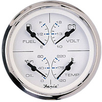 "Faria Chesapeake SS White 4"" Multifunction 4 in 1 Combination Gauge w\/Fuel, Oil, Water  Volts"
