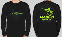 Marlin Hook Performance Shirt LS - Black/Green - XL