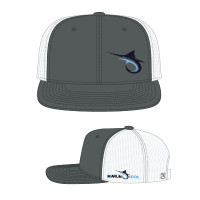 Marlin Hook Flatbill Hat - Charcoal/White