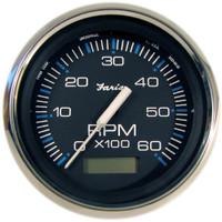 "Faria Chesapeake Black SS 4"" Tachometer w\/Hourmeter - 6,000 RPM (Gas - Inboard)"