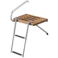 Whitecap Teak Swim Platform w\/2-Step Telescoping Ladder f\/Boats w\/Outboard Motors