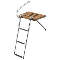 Whitecap Teak Swim Platform w\/3-Step Telescoping Ladder f\/Boats w\/Outboard Motors