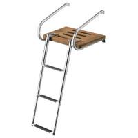 Whitecap Teak Swim Platform w\/3-Step Telescoping Ladder f\/Boats w\/Inboard\/Outboard Motors