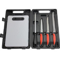 Mustad KVD Knife Set 6 pieces w/ Sharpener and Cutting Board