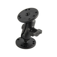 "RAM Mount 1"" Ball Double Socket Short Arm w\/ 2 2.5"" Round Bases"