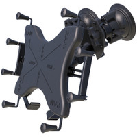 """RAM Mount Dual Articulating Suction Cup w\/Medium Length Double Socket Arm  Universal X-Grip Cradle f\/12"""" Large Tablets"""