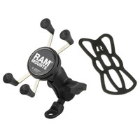 RAM Mount 9mm Angled Base Motorcycle Mount w\/Short Double Socket Arm  Universal X-Grip Cell\/iPhone Cradle