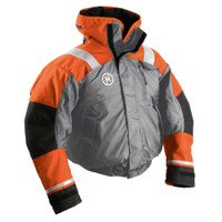 First Watch AB-1100 Flotation Bomber Jacket - Orange\/Grey - Small