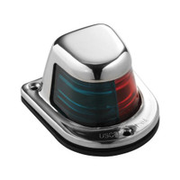 Attwood 1-Mile Deck Mount, Bi-Color Red\/Green Combo Sidelight - 12V - Stainless Steel Housing