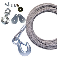 "Powerwinch 50' x 7\/32"" Stainless Steel Universal Premium Replacement Galvanized Cable w\/Hook & Swivel Pulley Block"