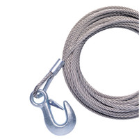 "Powerwinch 20' x 7\/32"" Replacement Galvanized Cable w\/Hook f\/215, 315 & T1650"