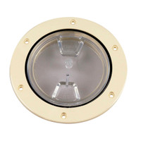 "Beckson 4"" Clear Center Screw-Out Deck Plate - Beige"