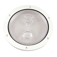 "Beckson 6"" Clear Center Screw Out Deck Plate - White"