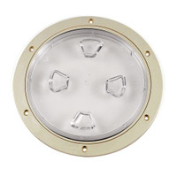 "Beckson 8"" Clear Center Screw-Out Deck Plate - Beige"