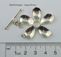Large Sterling Flower Toggle