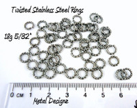 Twisted Square Stainless Steel Jump Rings 18g 5/32""