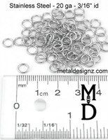"Stainless Steel Jump Rings 20 Gauge 3/16"" id."