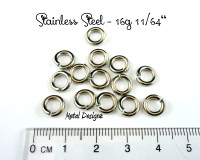 "Stainless Steel Jump Rings 16 Gauge 11/64"" id."