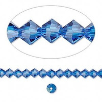 Swarovski crystal, Capri blue, 4mm  bicone