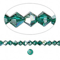 Swarovski crystal, emerald AB, 4mm  bicone