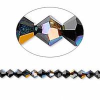 Swarovski crystal, JET AB, 4mm  bicone