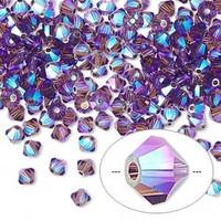 Swarovski crystal, amethyst AB2X, 4mm  bicone