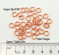 "Square Copper Wire Twisted Jump Rings 18 5/32"" id."