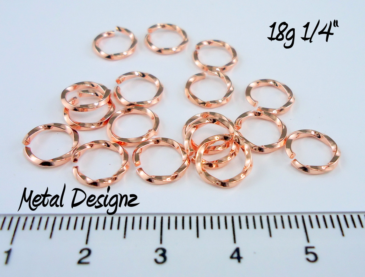Square Copper Wire Twisted Jump Rings 18 Gauge 1/4\