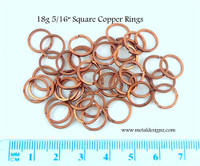 "Square Copper Jump Rings 18 Gauge 5/16"" id."
