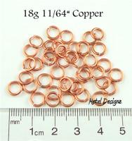 """Copper Jump Rings 18 Gauge 11/64"""" id."""