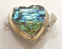 Big Heart Abalone Sterling Box Clasp - Studio Indah