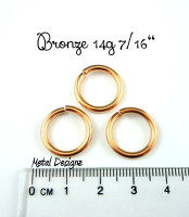 "Bronze Jump Rings 14 Gauge 7/16"" id."