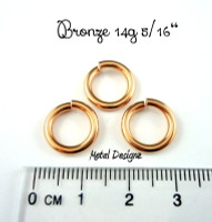 "Bronze Jump Rings 14 Gauge 5/16"" id."