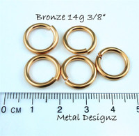 "Bronze Jump Rings 14 Gauge 3/8"" id."