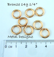 "Bronze Jump Rings 14 Gauge 1/4"" id."
