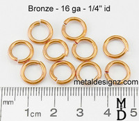 "Bronze Jump Rings 16 Gauge 1/4"" id."