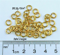 "Jewelers Brass Jump Rings 18 Gauge 9/64"" id."