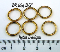 "Jewelers Brass Jump Rings 16 Gauge 3/8"" id."