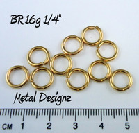 "Jewelers Brass Jump Rings 16 Gauge 1/4"" id."