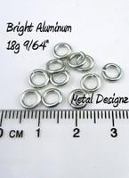 """Bright Aluminum Jump Rings 18 Gauge 9/64"""" id"""