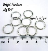 """Bright Aluminum Jump Rings 18 Gauge 3/8"""" id"""