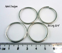 "Bright Aluminum Jump Rings 14 Gauge 3/4"" id."
