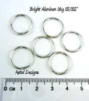 "Bright Aluminum Jump Rings 16 Gauge 15/32"" id."