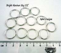 "Bright Aluminum Jump Rings 16 Gauge 1/2"" id."
