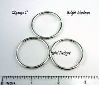"Bright Aluminum Jump Rings 12 gauge 1"" id"
